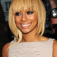 Keri Hilson Short Blonde Hairstyle with Wispy Bangs for Oval Faces