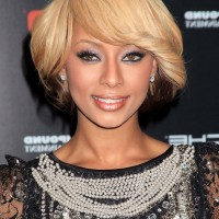 Keri Hilson Trendy Short Hairstyle with Thick Side Swept Bangs