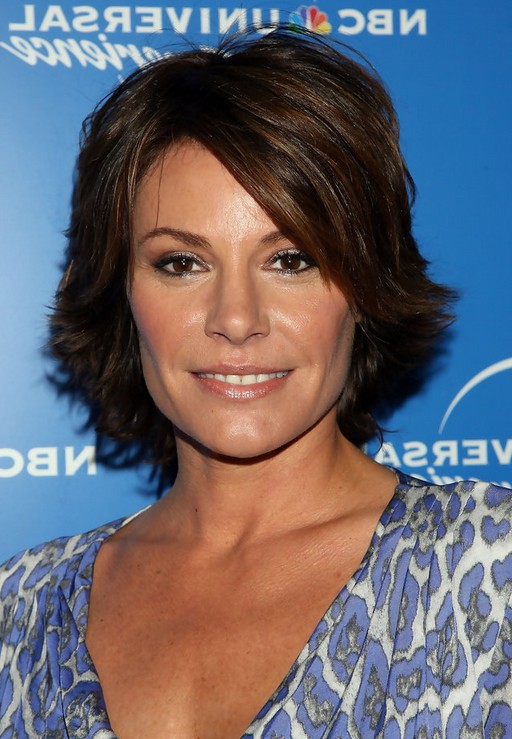 LuAnn de Lesseps Short Layered Razor Hairstyle with Bangs for Thick Hair