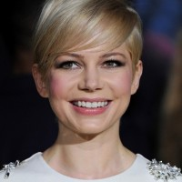 Michelle Williams Cute Short Straight Haircut with Side Swept Bangs for Fall