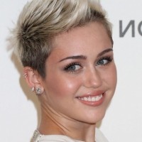 Miley Cyrus Cool Short Spiked Fauxhawk Haircut for Women