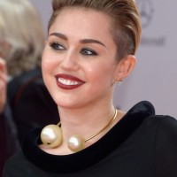 Miley Cyrus Short Straight Pull Back Haircut