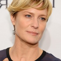 Robin Wright Short Straight Haircut with Side Swept Bangs
