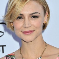 Samaire Armstrong Chic Short Sleek Straight Haircut with Bangs