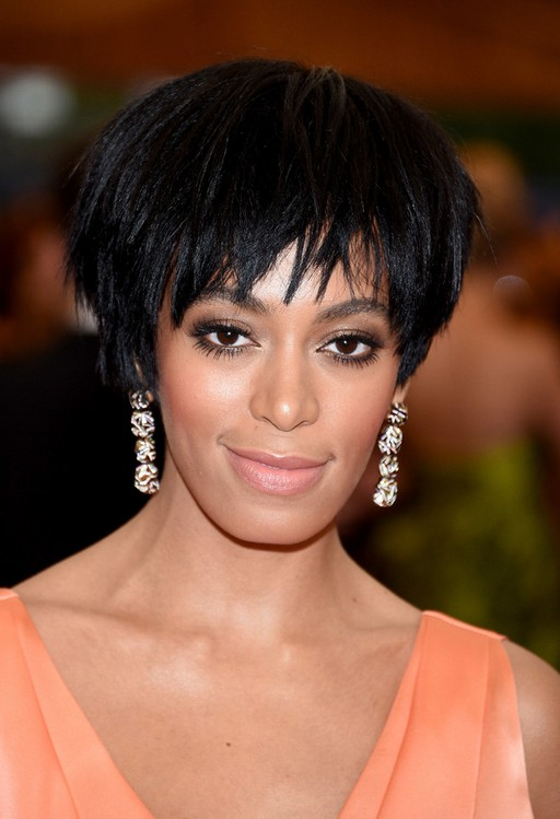 Solange Knowles Layered Black Razor Cut for Black Women