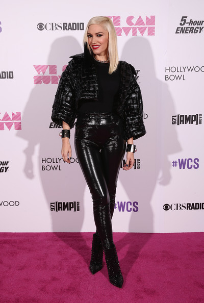 Gwen Stefani Leather Pants Outfit