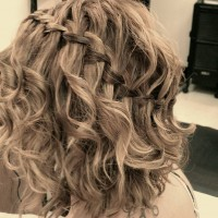 Beautiful Waterfall Braided Hairstyle for Medium Hair
