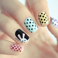 Fashionable Dot and Bunny Nail Design for Women