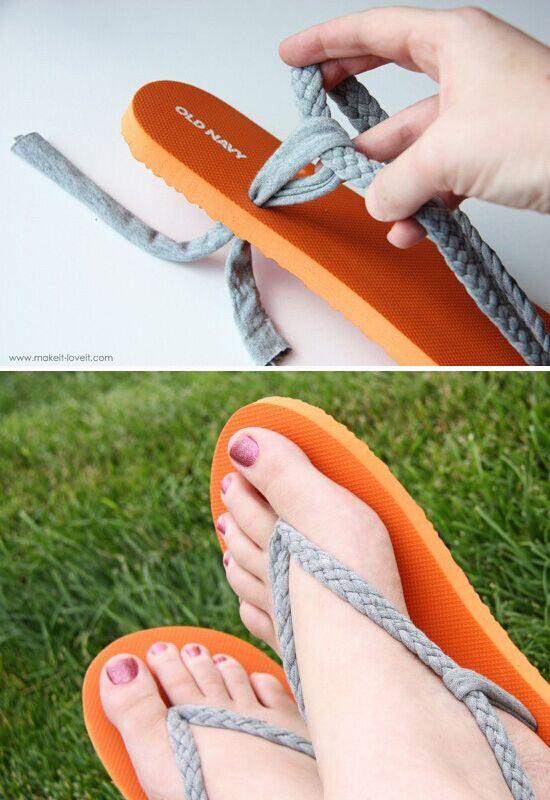 Flip flop refashion part 1 braided straps