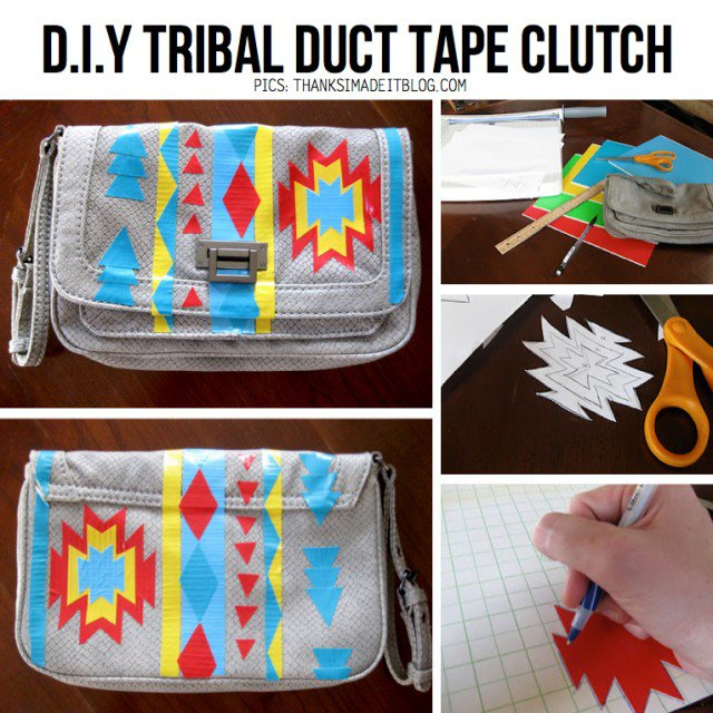 DIY Tribal Duct Tape Clutch