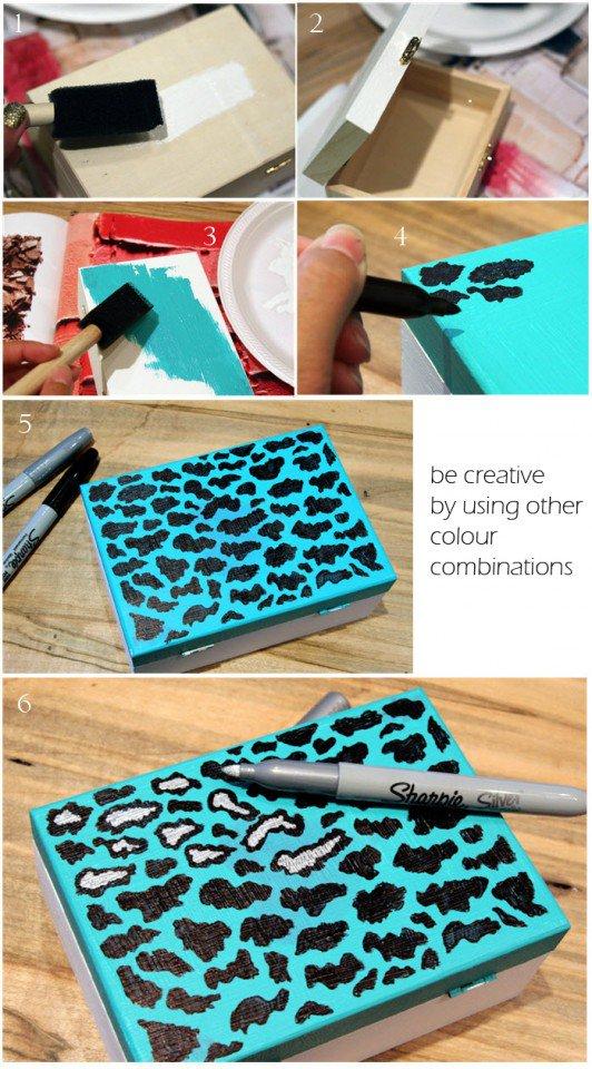 DIY Blue Leopard Printed Clutch