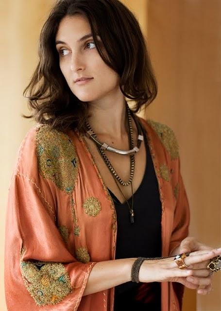 Kimono and layered necklaces