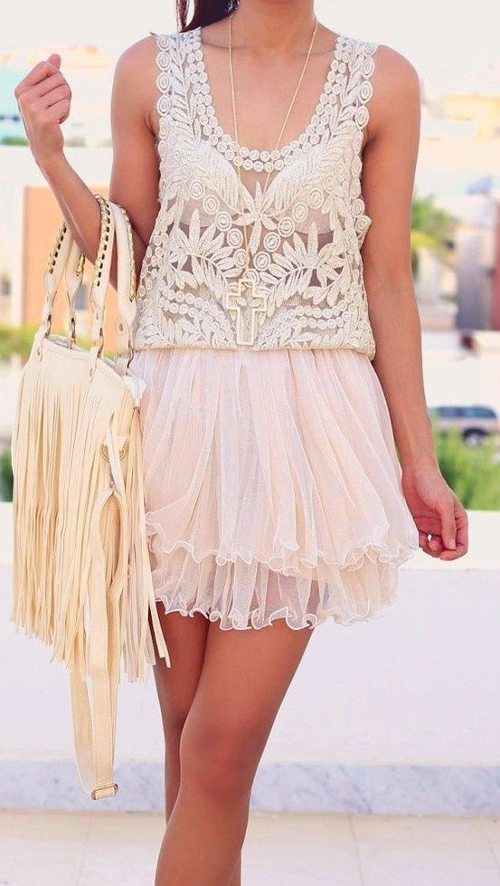 Lace tank and mini tulle skirt