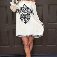 Off-shoulder rayon dress