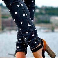 Polka dot skinny jeans