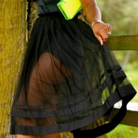 Super sheer flare skirt