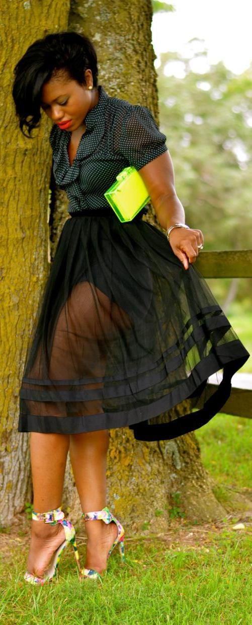 Super sheer flare skirt
