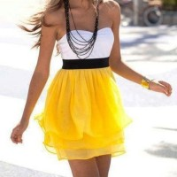 Yellow and white dress combo