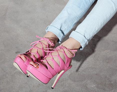 Bubblegum pink lace-up heels