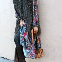 Floral dress and long fur vest