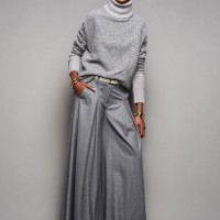 Grey turtleneck and wide-leg pants