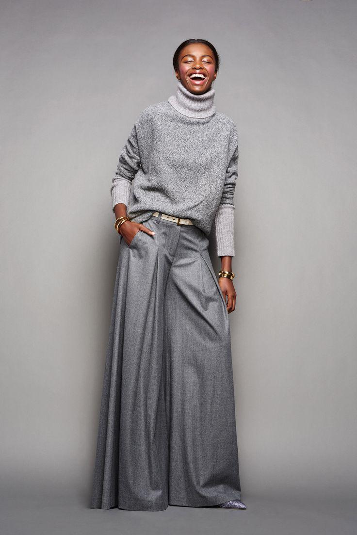 Grey turtleneck and wide-leg pants