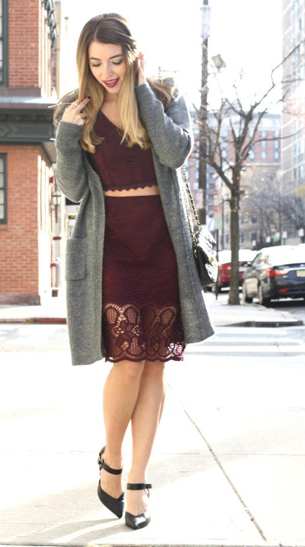 Marsala lace midi dress