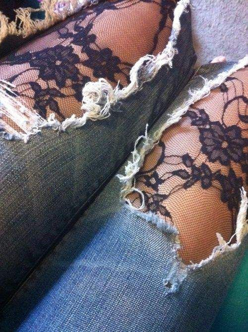 Ripped jeans and tights