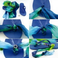 Romantic DIY Scarf Decorated Slippers