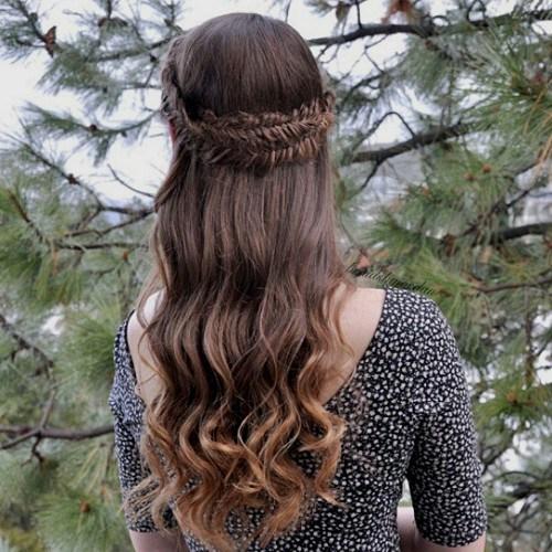 Beautiful Braided Crown Half Updo Hairstyle