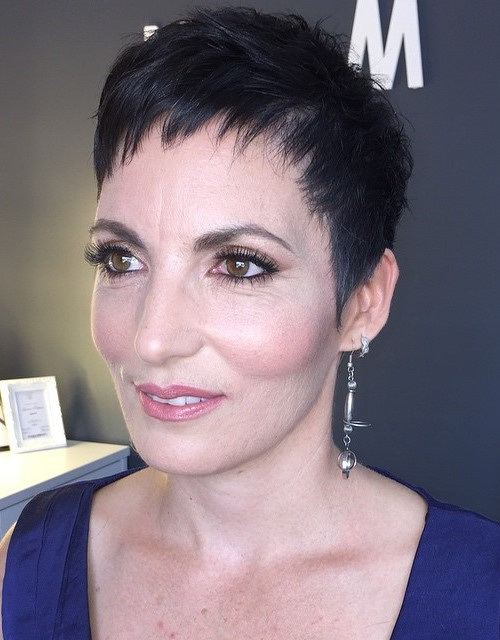 Black Pixie Haircut for Mature Women
