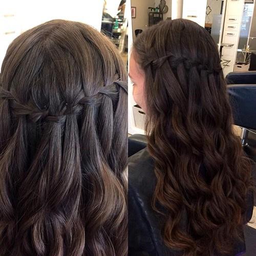 Chic Waterfall Braided Hairstyle for Teenage Girls