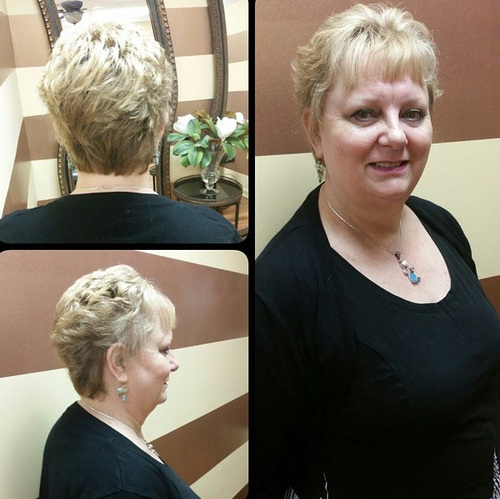 Fashionable Cropped Haircut with Wipsy Bangs