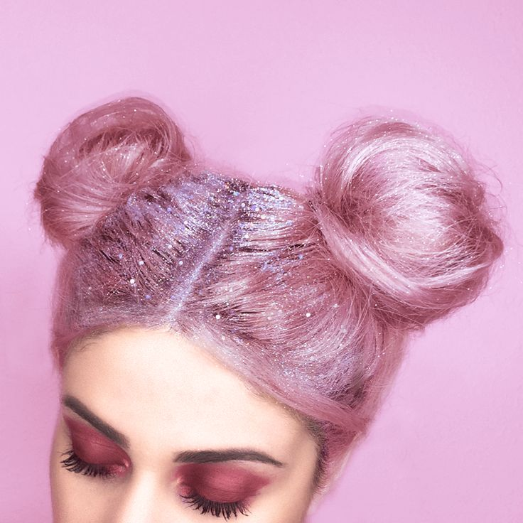 Glitter Pink Hairstyle for Holidays