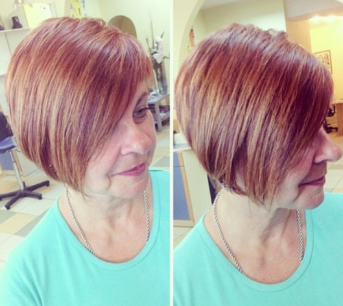 Highlighted Stacked Bob for Mature Women