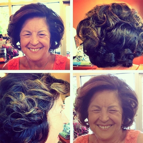 Stylish Curly Bob Hairstyle for Mature Women